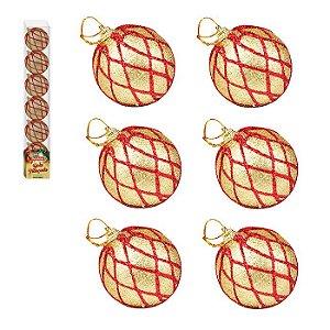 Enfeite Bola de Natal 6cm 6 Peças Dourado com Vermelho