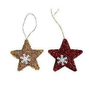 Enfeite Estrela Floco de Neve Natal