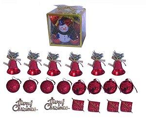 Pacote Enfeites de Natal Mistos 20 Peças