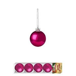 Enfeite Bola Natal Lisa 4cm 5 Peças Pink