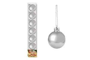 Enfeite Bola de Natal 3cm 7 Peças Prata