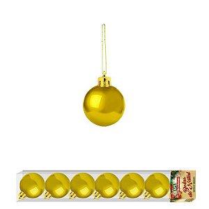 Enfeite Bola de Natal 3cm 7 Peças Dourado