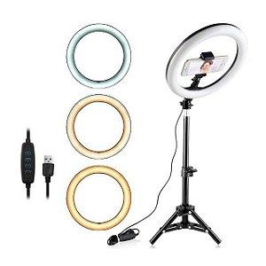 Luminária De Led Ring Light 3 Funções 26cm Com Tripé