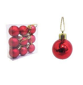 Bola de Natal Vermelha N.3 9pçs