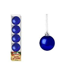 Enfeite Bola de Natal Lisa 4cm 5 Peças Azul