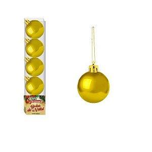 Enfeite Bola de Natal Lisa 4cm 5 Peças Dourada