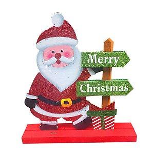 Enfeite de Madeira Papai Noel Natal