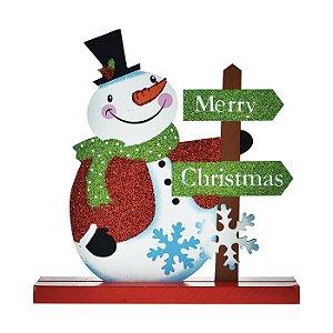 Enfeite de Madeira Boneco de Neve Natal