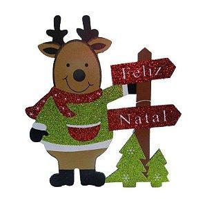 Enfeite de Madeira Rena Natal