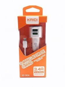 Carregador Veicular Duplo 3.4A USB com Cabo - Kaidi