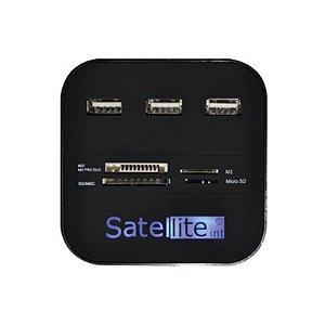 Hub Com 3 Portas Para USB + 4 Portas Para Leitor de Cartão de Memoria - Sate A-HUB07