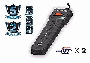Filtro de Linha Com 5 Tomadas + 2 USBs - SATE AR-09