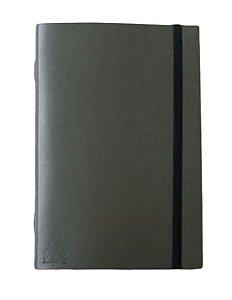 Caderno brochura capa de couro verde com elástico