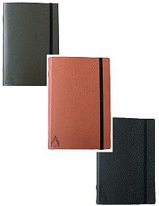 Kit com 3 cadernos brochura couro - preto, verde e marrom