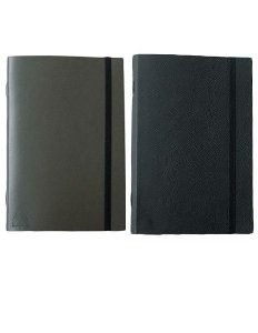 Kit com 2 cadernos brochura couro - Preto e Marrom