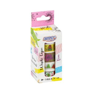Kit 5 fitas adesivas decorativas washi tape - Fun - WT0504