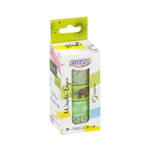 Kit 5 fitas adesivas decorativas washi tape - Green - WT0503