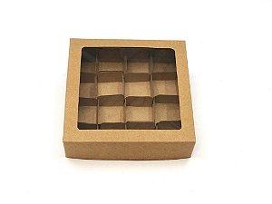 Kit de caixa com visor VC15 (15X15X4 cm) para 16 doces/brigadeiros/bombons com 320 forminhas - embalagem com 20