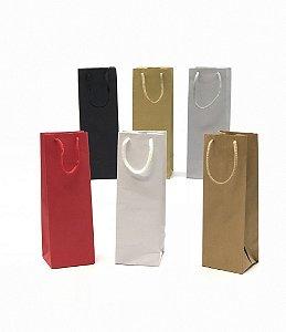 Sacola com alça de cordão MINI GARRAFA (23x8x7,5 cm) - embalagem com 10