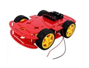KIT CHASSI COM 4 RODAS 4WD - VERMELHO