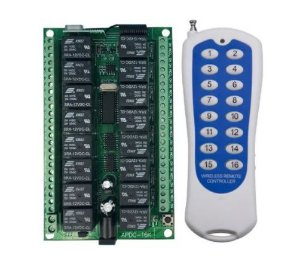 Controle Remoto Rf 433mhz Com Relês 16 Canais 12v Automação