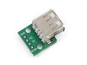 MÓDULO ADAPTADOR CONECTOR USB FEMEA 2.0 DIP
