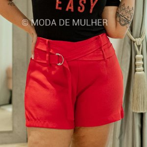 * MP  SHORTS CREPE  TRANSPASSE NA FRENTE