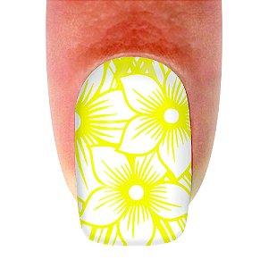 Adesivo de unha Flores Amarelas 209 com 12un