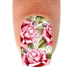 Adesivo de Unha  Flor Rosa Claro com Folhagem