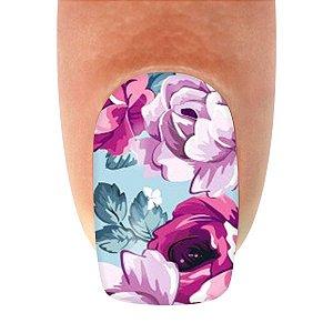Adesivo de Unha  Flor Fundo Azul Claro com Flores Lilás e Pink