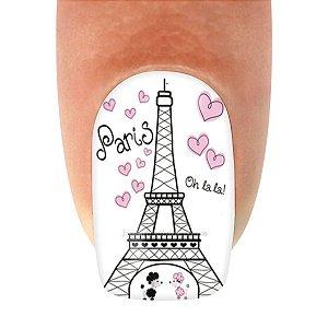 Adesivos de Unha Variado Torre Eiffel Cinza