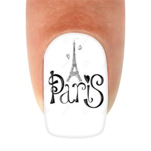 Adesivos de Unha Variado Torre Eiffel e Corações