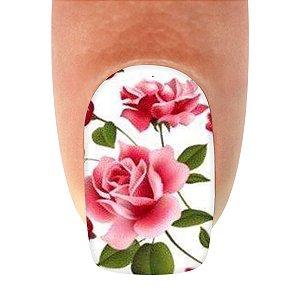 Adesivo de Unha Flores Rosa e Francesinha com Laço Preto