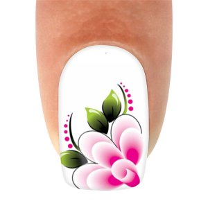 Adesivo de Unha  Flor fundo branco Flor Rosa com Xadrez com 12un