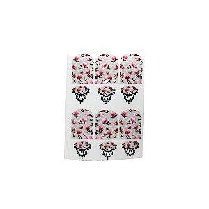 Adesivo de Unha Impressas com Joia Arabesco com Flores Rosa e Fundo Cinza - 12un