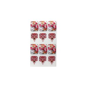 Adesivo de Unha Impressas com Joia Arabesco e Flores Vermelhas