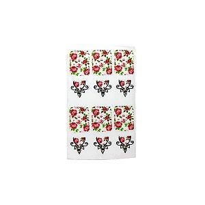 Adesivo de Unha Impressas com Joia  Arabesco com Flor Vermelho