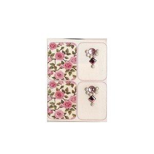 Adesivo de Unha Jóia Luxo Floral Rosa 95