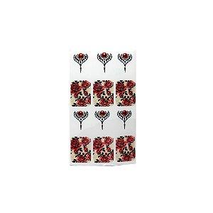 Adesivo de Unha Arabesco com Flor Vermelha e Fundo Bege