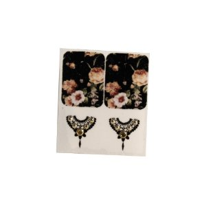 Adesivo de Unha Jóia Luxo Floral Preta 96