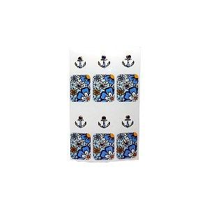 Adesivo de Unha Impressas com Joia Âncora Azul - 12un