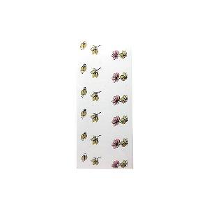 Adesivo de Unha Impressas com Joia Flor Verde e Vermelha