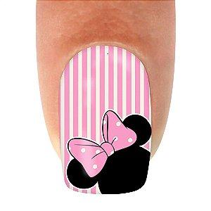 Adesivo de Unha Linha Glamour Minie com Laço Rosa