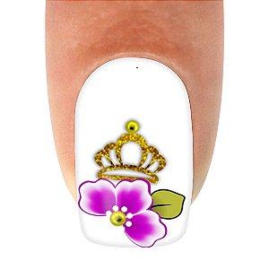 Adesivo de Unha Linha Glamour Flor Roxa com Coroa