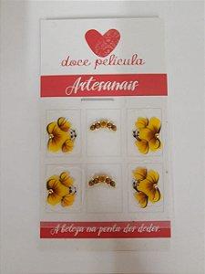 Adesivo de Unha Premium Flor Marrom 72 - 6un