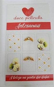 Adesivo de Unha Premium Flor Amarela 75 - 6un