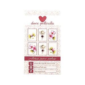Adesivo de Unha Premium Flor Rosa e Margarida 98