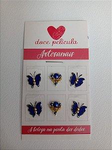Adesivo de Unha Premium Borboleta Azul 100 - 6un