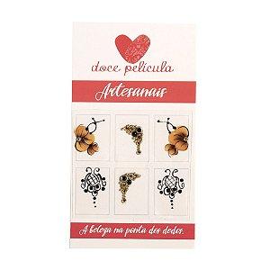 Adesivo de Unha Premium Flor Marrom e Arabesco 101