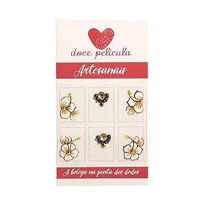 Adesivo de Unha Premium Flor Marrom 106